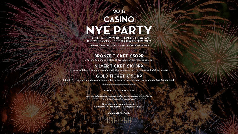 Capeesh Sky Bar NYE 2018 - Canary Wharf - Capeesh